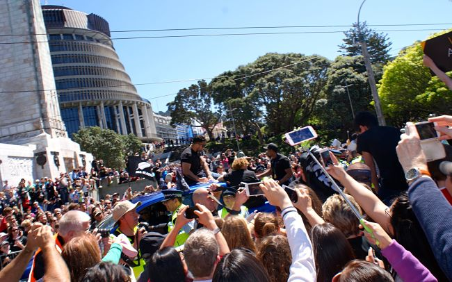 Different angle of the Wellington Parliament Beehive tour starting point - when the All Blacks came to town after winning the rugby world cup